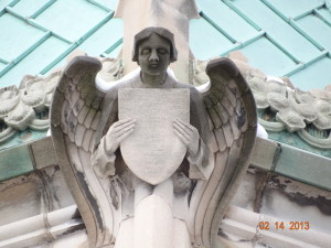 Stonework angel on exterior of Lake of the Isles Church