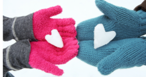 snow hearts mittens